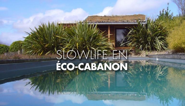 vue de la piscine de l'écocabanon à Estialesq